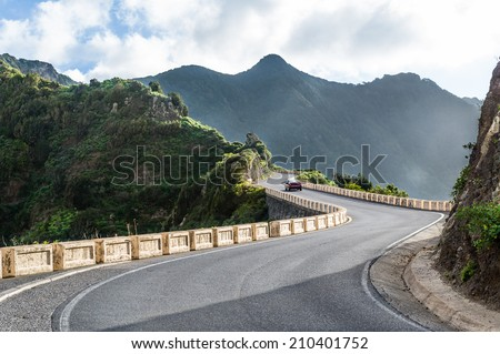Mountain roads to wild beach. Tenerife. Canary islands landscape series - stock photo