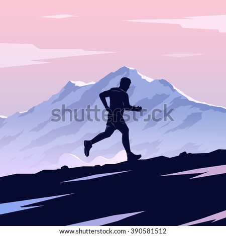 Mountain Running. Runner silhouette. Running man. Skyrunning poster. Extreme sports. Mountain landscape. Outdoor sports. Hiking. #3 - stock photo