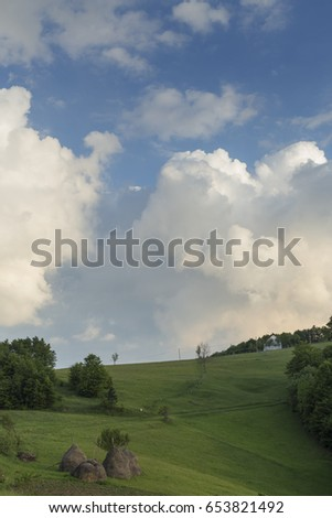 Mountain rural landscape background
