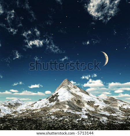 mountain's top in a limpid night - stock photo