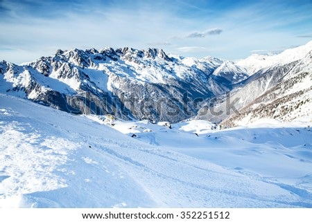 Mountain scape and Chamonix aeral view from the station of Aiguille du Midi , France