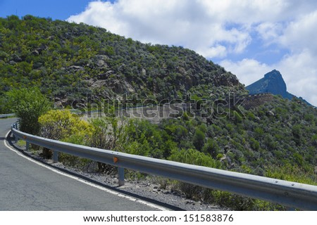 mountain scape panorama with empty road in Gran Canaria, Spain