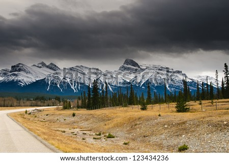 Mountain scenery along the Icefields Parkway, Banff and Jasper National Parks Alberta Canada
