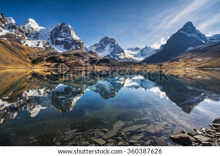 Mountain scenery, Andes, Bolivia - stock photo