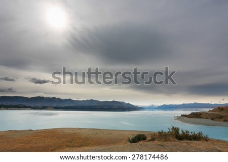 Mountain scenery at Lake Pukaki, New Zealand