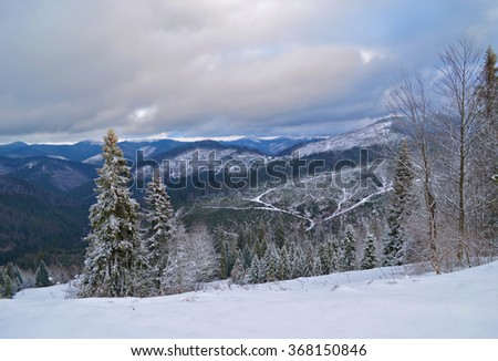 Mountain scenery, winter Carpathian landscape, Ukraine
