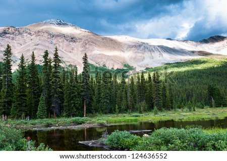 Mountain scenery with small pond in Banff national park, Alberta, Canada