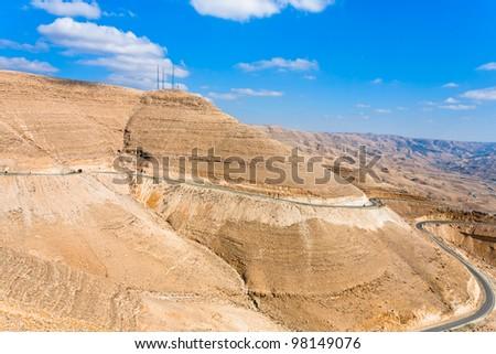 mountain serpentine King's road in Wadi Al Mujib valley, Jordan - stock photo