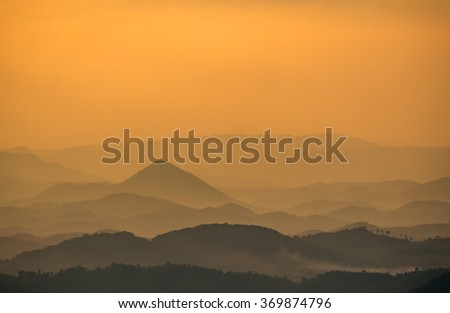 Mountain silhouette at twilight