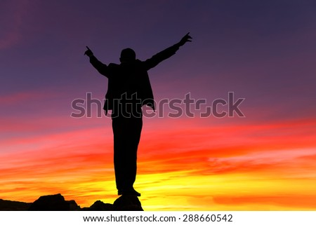 Mountain silhouette businessman