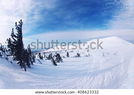 Mountain ski resort Sheregesh, Russia - nature and sport background