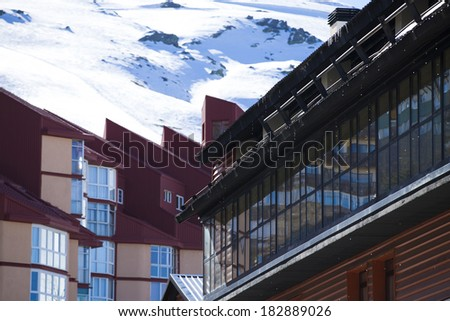 Mountain ski resort with snow in winter