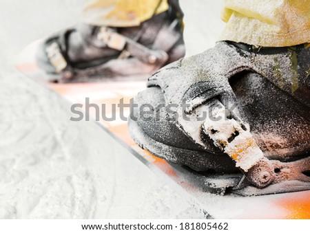 Mountain-skier legs closeup - stock photo