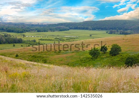 mountain sky green landscape forest nature hill view summer blue grass tree