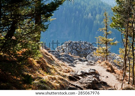 Mountain snowy landscape with rocks in Zakopane - stock photo