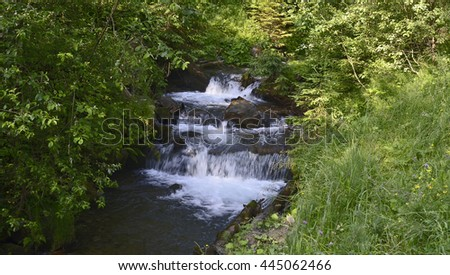 Mountain stream between green stony banks at Carpathians in Ukraine