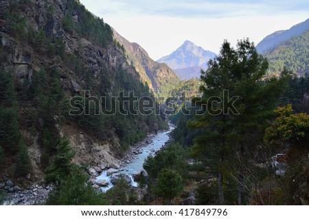 Mountain stream, Himalayas, Nepal - stock photo
