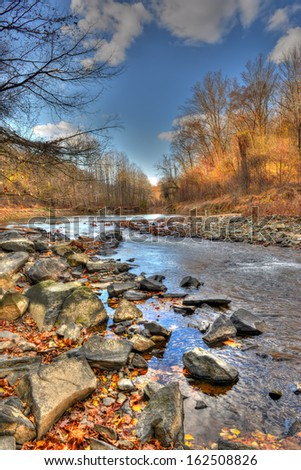 Mountain stream in the Appalachian mountains of Maryland during Autumn - stock photo