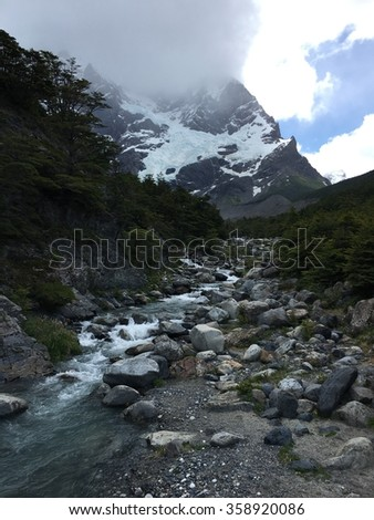 Mountain stream in Torres del Paine National Park, Chile - stock photo