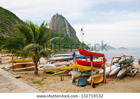 Mountain Sugar Loaf and Red beach in Rio de Janeiro. Brazil - stock photo