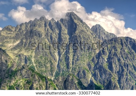 Mountain summer landscape. Picturesque view on trail Slavskovsky Stit in High Tatra Mountains, Slovakia.