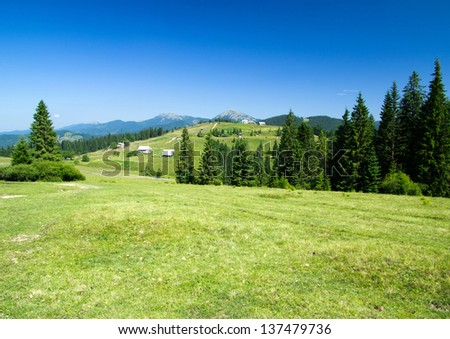 mountain summer landscape with blue sky - stock photo