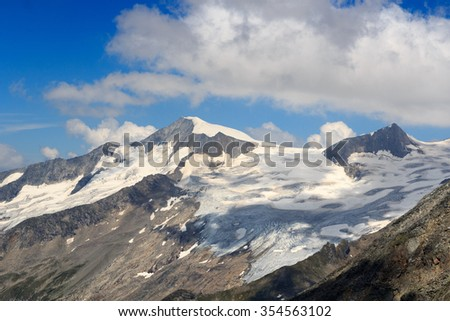 Mountain summit Grossvenediger south face and glacier in the Hohe Tauern Alps, Austria - stock photo
