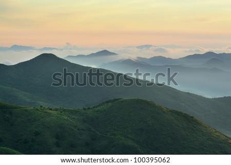 Mountain Sunrise in hong kong - stock photo