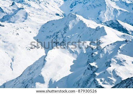 mountain tops in winter, Alps - stock photo