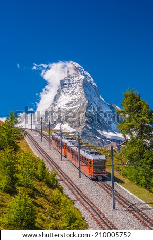 Mountain train in front of Matterhorn peak
