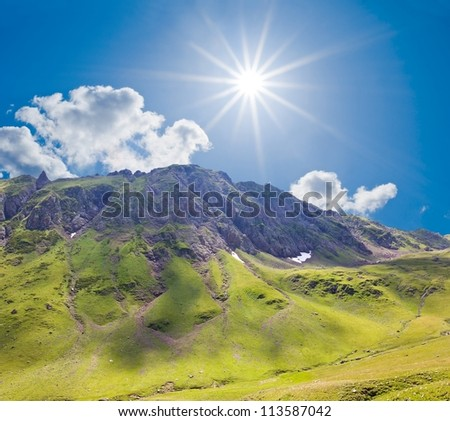 mountain valley at the sparkle summer day - stock photo