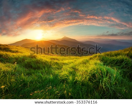 Mountain valley during sunrise. Natural summer landscape  - stock photo