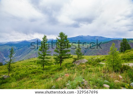 mountain valley height of the summer day - stock photo