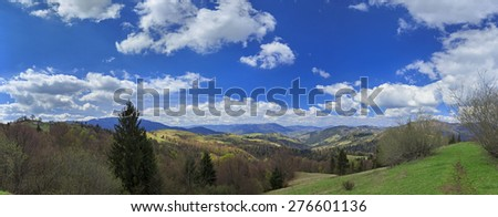 Mountain valley with clouds in Carpathians, Ukraine - stock photo