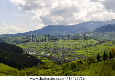 Mountain valley with forest and meadows, Carpathian mountains, Ukraine - stock photo