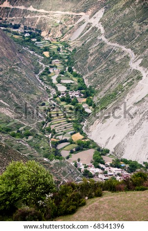 Mountain valleys in Tibet, China, Yunnan and Sichuan province - stock photo