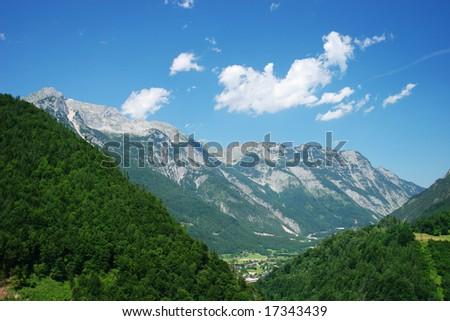 Mountain view (Alps, Salzburg, Austria) - stock photo