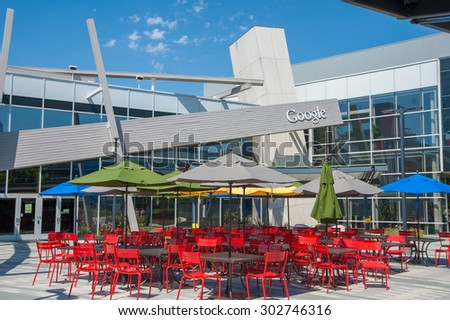 MOUNTAIN VIEW, CA - AUGUST 1, 2015: Dining area for Google employees at Google's headquarters, also known as Googleplex, in Mountain View, California on August 1 2015 - stock photo