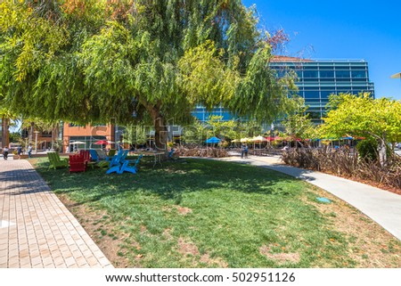 Mountain View, CA, USA - August 15, 2016: relaxing area for Google employees at Google's headquarters or Googleplex. Google is an multinational corporation specializing in Internet-related services.