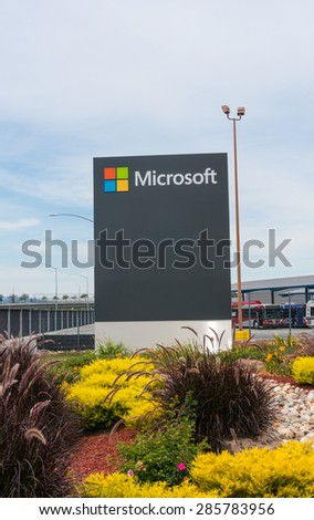 MOUNTAIN VIEW, CA/USA - JUNE 9, 2015: Microsoft corporate office in Mountain View, CA. Microsoft is a multinational company that develops and sells computer software and consumer electronics. - stock photo