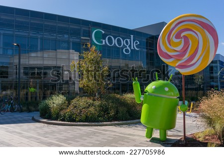 MOUNTAIN VIEW, CA/USA - NOV 2, 2014: Android Lollipop (latest android OS) replica in front of Google office. Google is a multinational company specializing in Internet related services and products. - stock photo