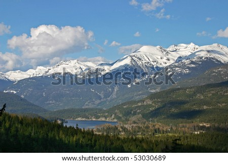 Mountain view during winter hiking. - stock photo