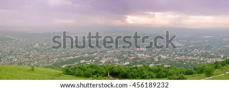 Mountain view Dzhutsa and Pyatigorsk. Russia. Panorama - stock photo