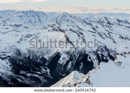 Mountain view from Alpine Ski center Top of Salzburg at Kapnum, Zell-am-See, Austria, Europe - stock photo