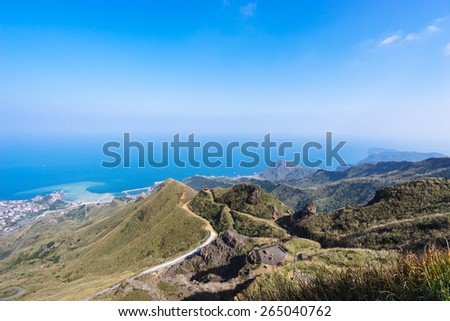 mountain view in jinguashi, Taipei, Taiwan - stock photo