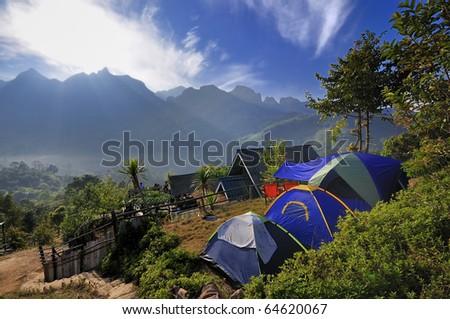 Mountain View. Location Chiang-Dao, Chiang Mai Thailand. - stock photo