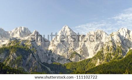 Mountain View of Kranjska Gora in Slovenia - stock photo