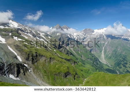 Mountain view on the High Alpine Road - stock photo