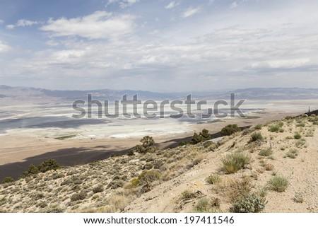 Mountain view towards Owens Dry lake near Lone Pine California. - stock photo