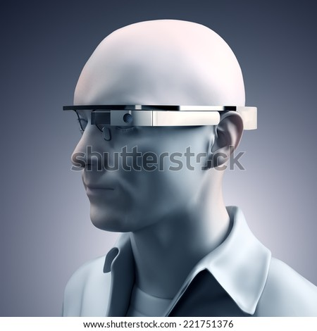 MOUNTAIN VIEW, USA - OCTOBER 5, 2014. 3D rendering of Google Glass - wearables technology - stock photo